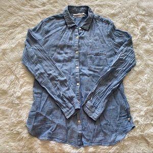 SCOTCH & SODA linen blend stripe button down shirt